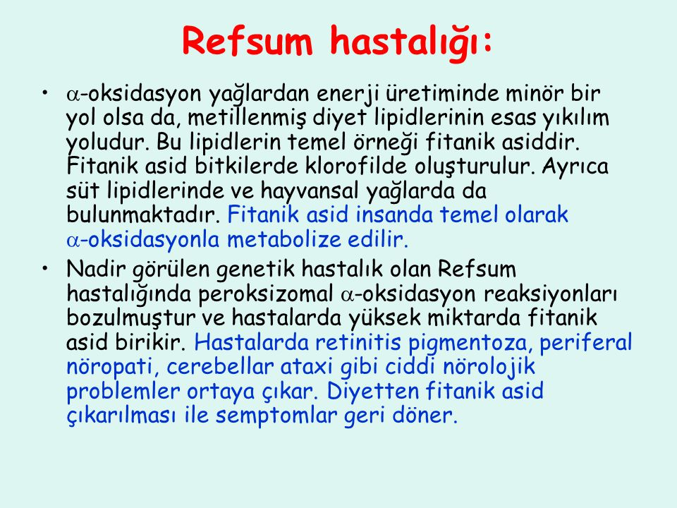 Refsum hastalığı: