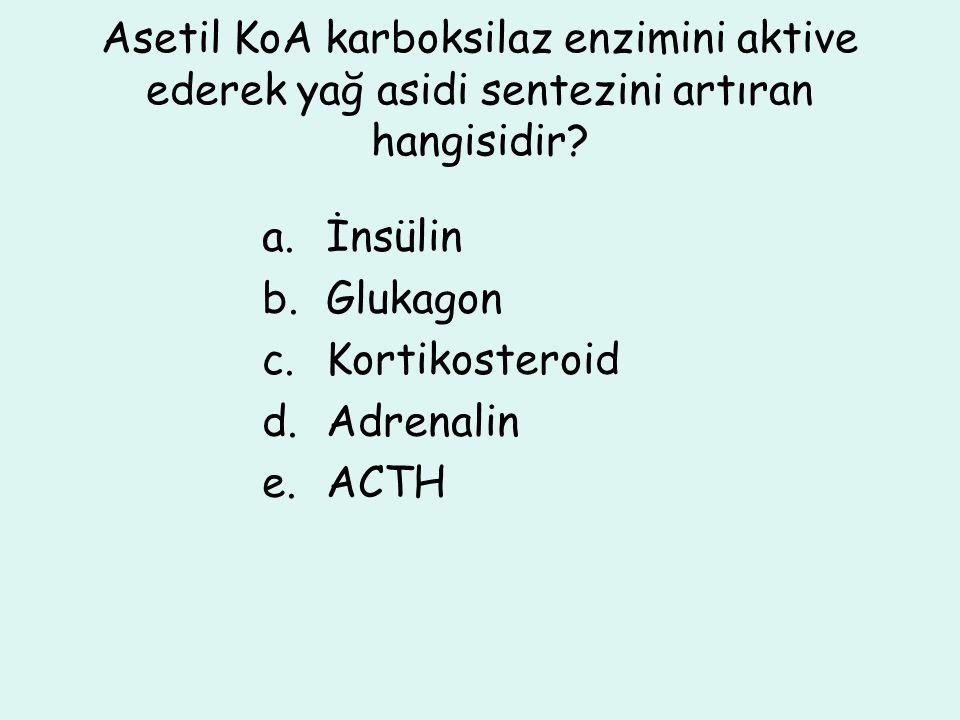 Asetil KoA karboksilaz enzimini aktive ederek yağ asidi sentezini artıran hangisidir