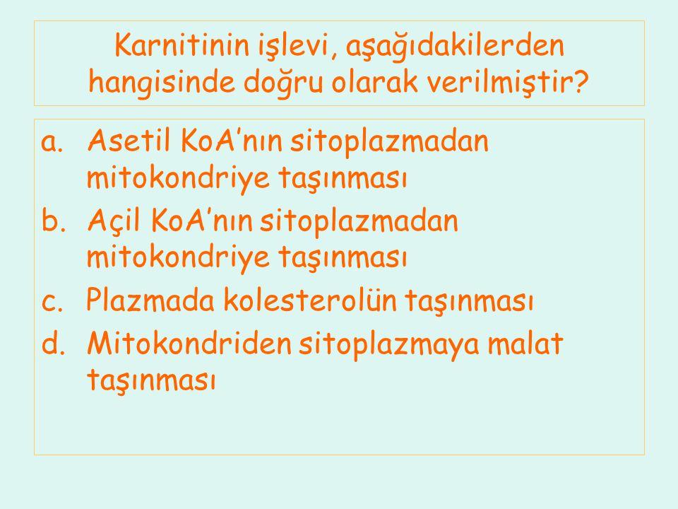 Karnitinin işlevi, aşağıdakilerden hangisinde doğru olarak verilmiştir