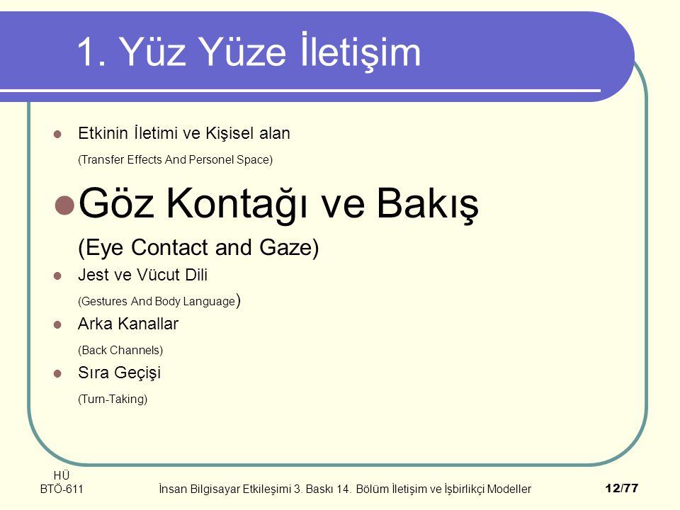 Göz Kontağı ve Bakış 1. Yüz Yüze İletişim