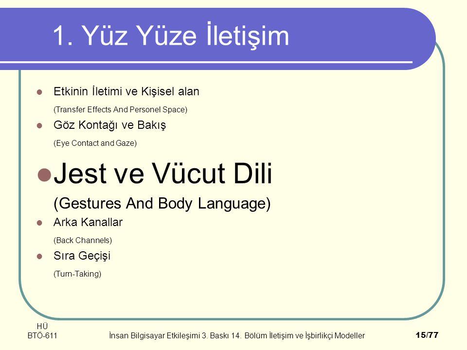 Jest ve Vücut Dili 1. Yüz Yüze İletişim