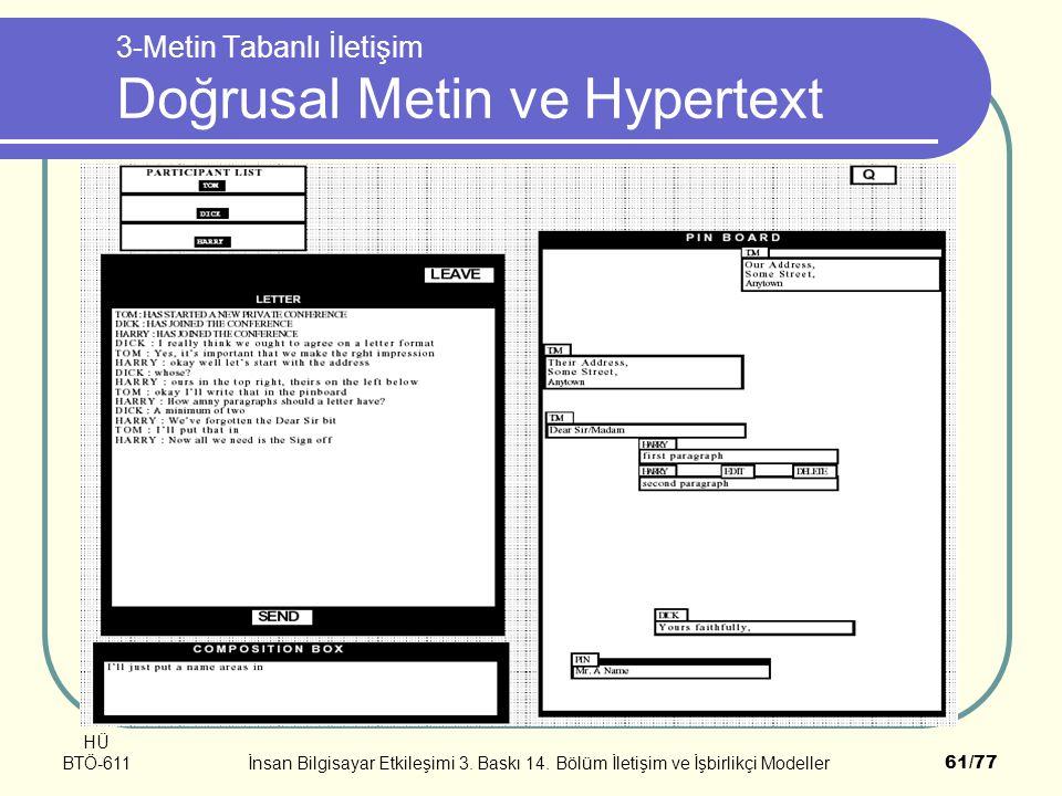 3-Metin Tabanlı İletişim Doğrusal Metin ve Hypertext
