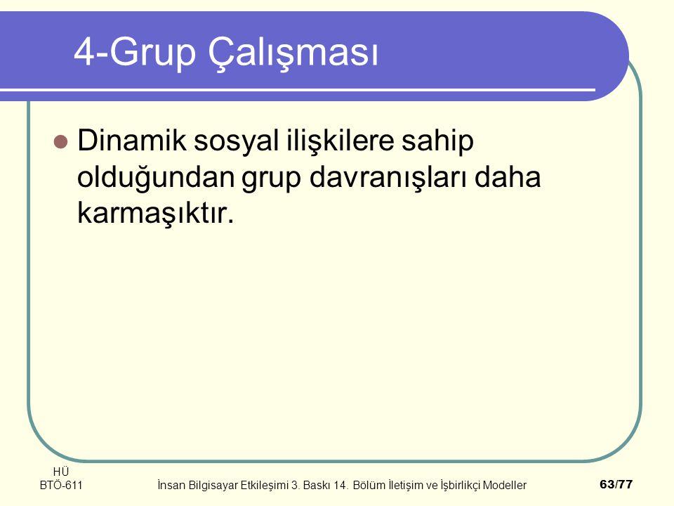 4-Grup Çalışması Dinamik sosyal ilişkilere sahip olduğundan grup davranışları daha karmaşıktır. HÜ.
