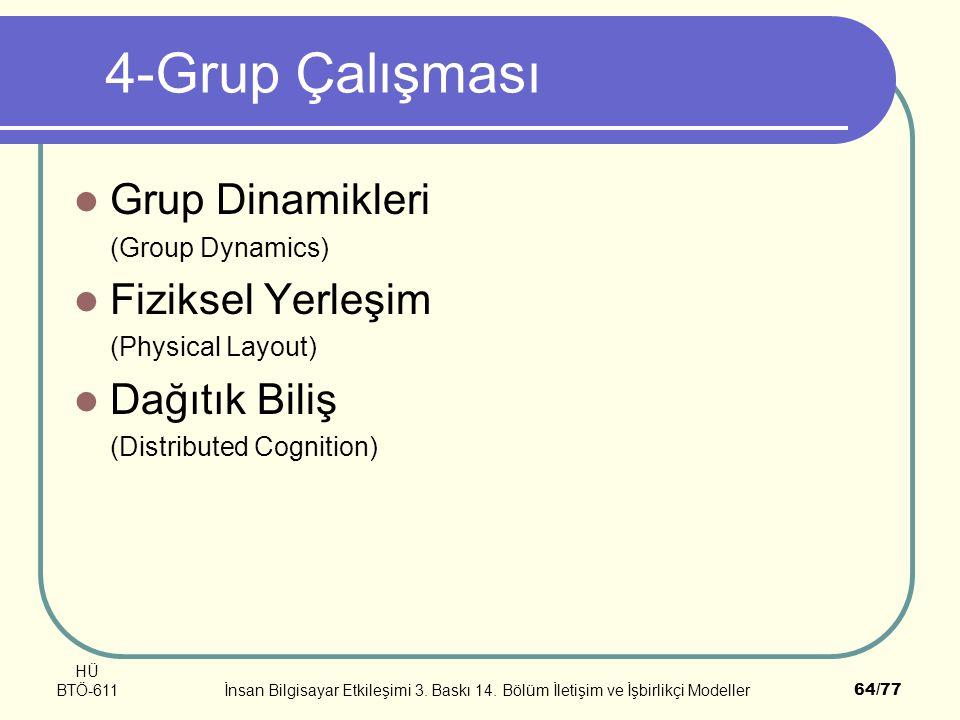 4-Grup Çalışması Grup Dinamikleri Fiziksel Yerleşim Dağıtık Biliş