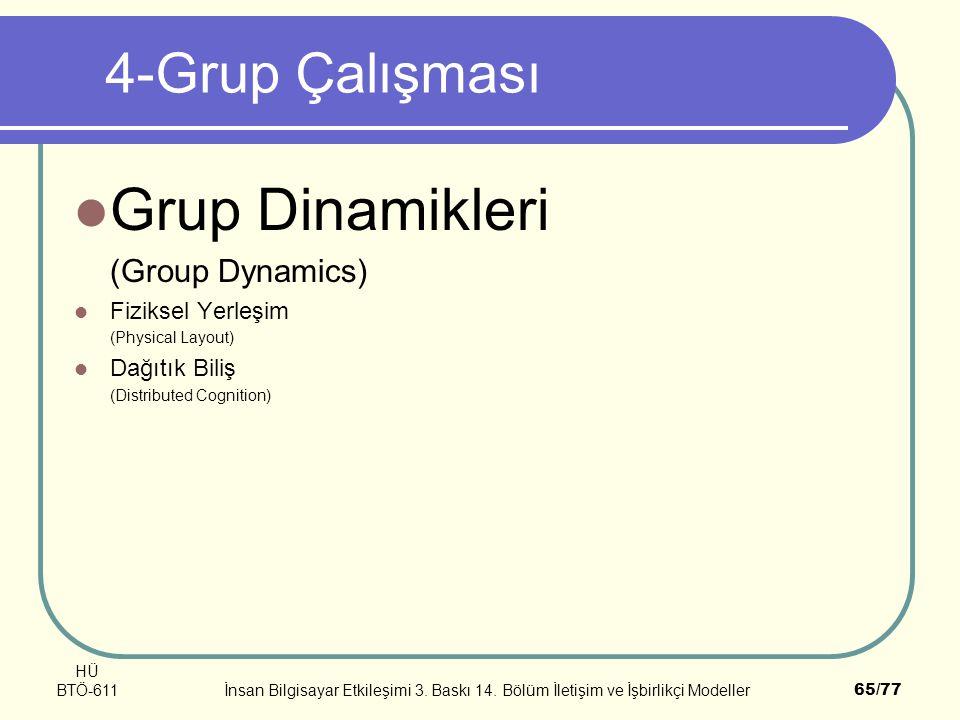 Grup Dinamikleri 4-Grup Çalışması (Group Dynamics) Fiziksel Yerleşim