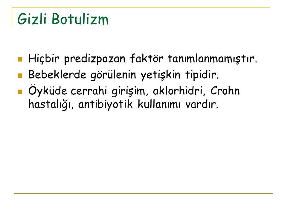 Gizli Botulizm Hiçbir predizpozan faktör tanımlanmamıştır.
