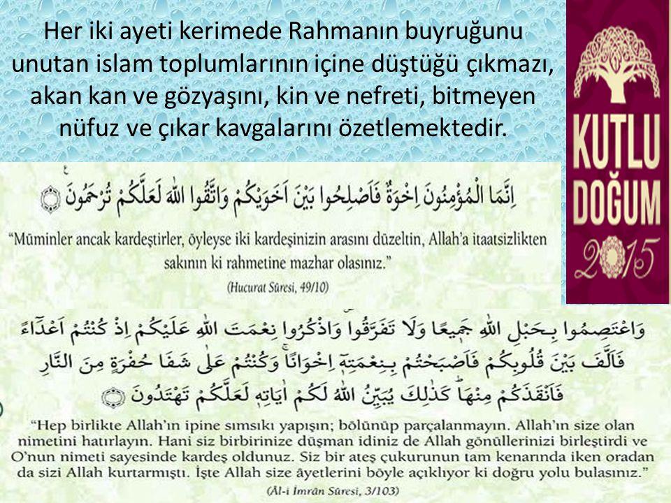 Her iki ayeti kerimede Rahmanın buyruğunu unutan islam toplumlarının içine düştüğü çıkmazı, akan kan ve gözyaşını, kin ve nefreti, bitmeyen nüfuz ve çıkar kavgalarını özetlemektedir.