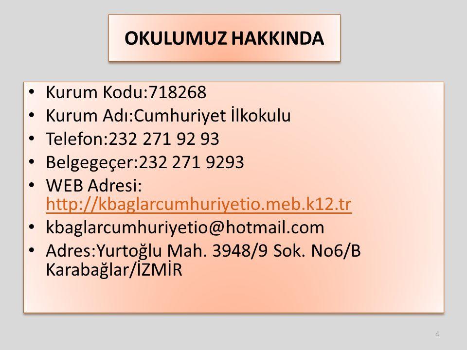 OKULUMUZ HAKKINDA Kurum Kodu:718268 Kurum Adı:Cumhuriyet İlkokulu