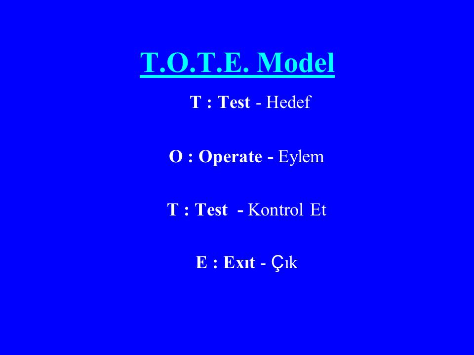 T.O.T.E. Model T : Test - Hedef O : Operate - Eylem