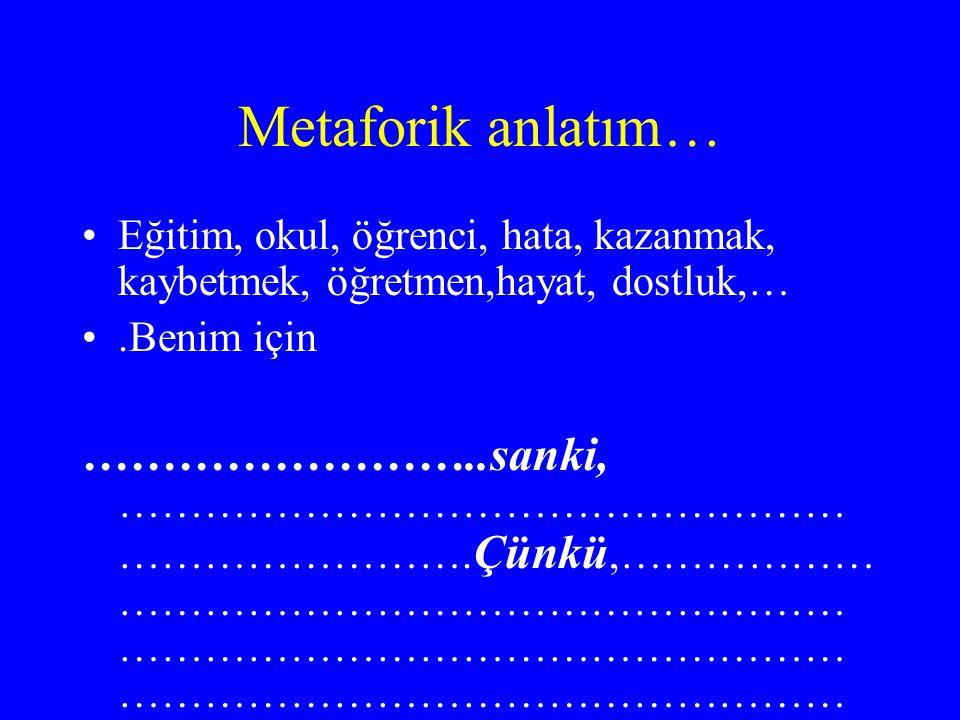 Metaforik anlatım… Eğitim, okul, öğrenci, hata, kazanmak, kaybetmek, öğretmen,hayat, dostluk,… .Benim için.