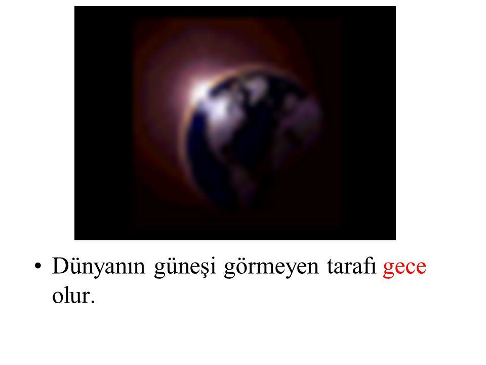 Dünyanın güneşi görmeyen tarafı gece olur.