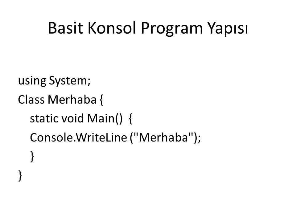 Basit Konsol Program Yapısı