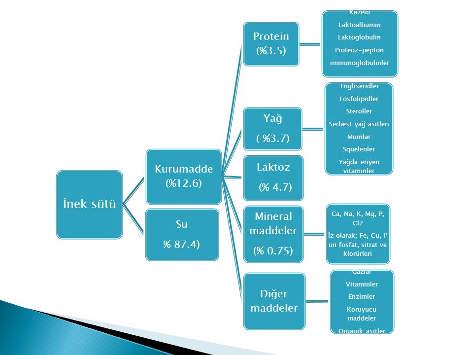 İnek sütü Protein (%3.5) Yağ ( %3.7) Kurumadde (%12.6) Laktoz (% 4.7)