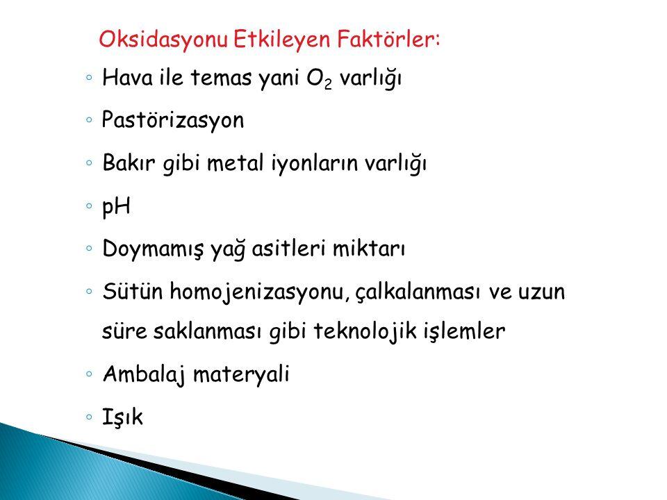 Oksidasyonu Etkileyen Faktörler: