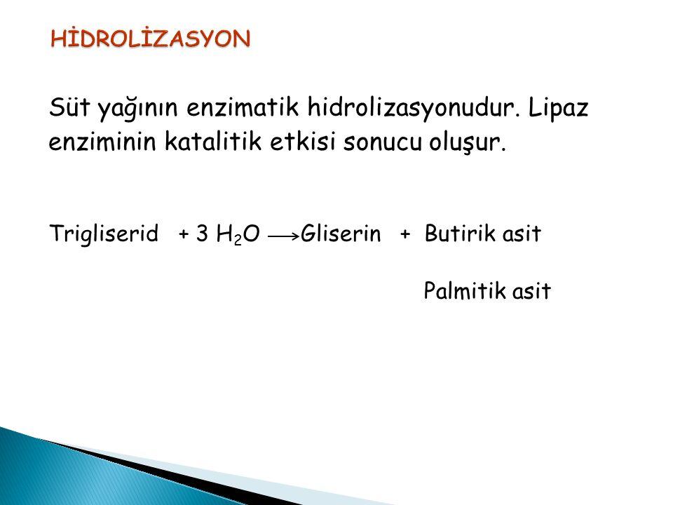 Süt yağının enzimatik hidrolizasyonudur. Lipaz