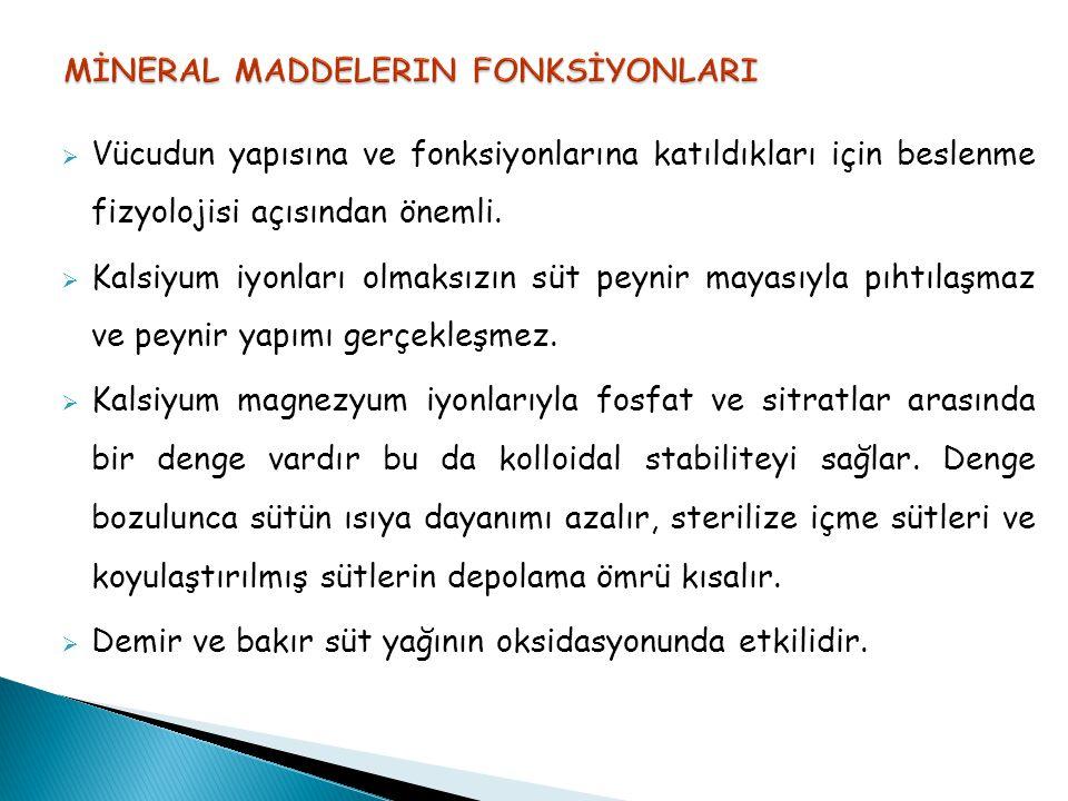 MİNERAL MADDELERIN FONKSİYONLARI