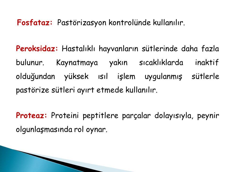 Fosfataz: Pastörizasyon kontrolünde kullanılır.