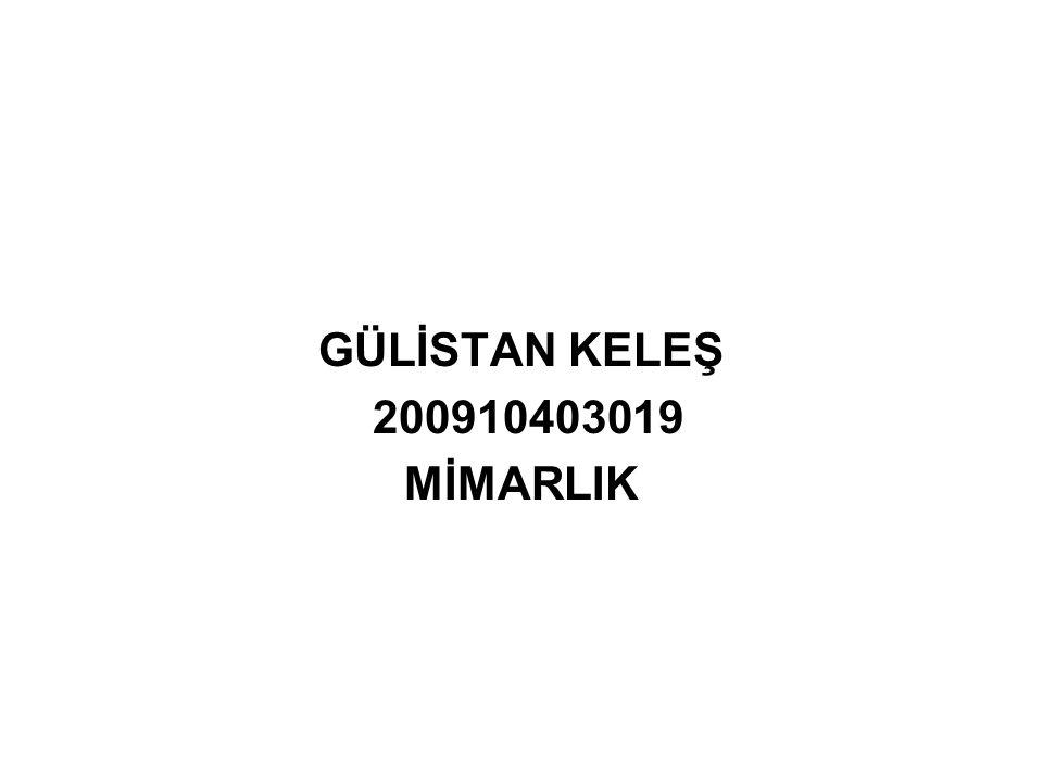 GÜLİSTAN KELEŞ 200910403019 MİMARLIK