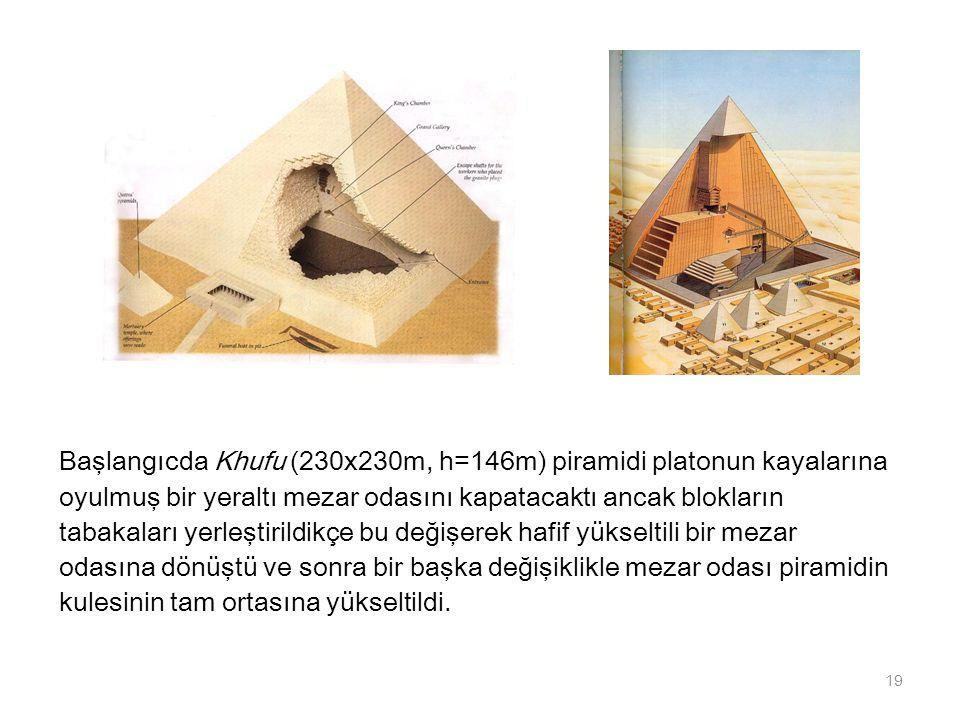 Başlangıcda Khufu (230x230m, h=146m) piramidi platonun kayalarına