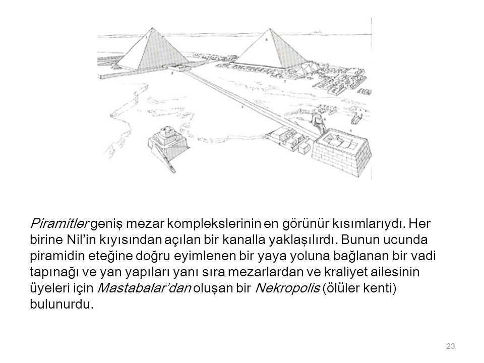 Piramitler geniş mezar komplekslerinin en görünür kısımlarıydı