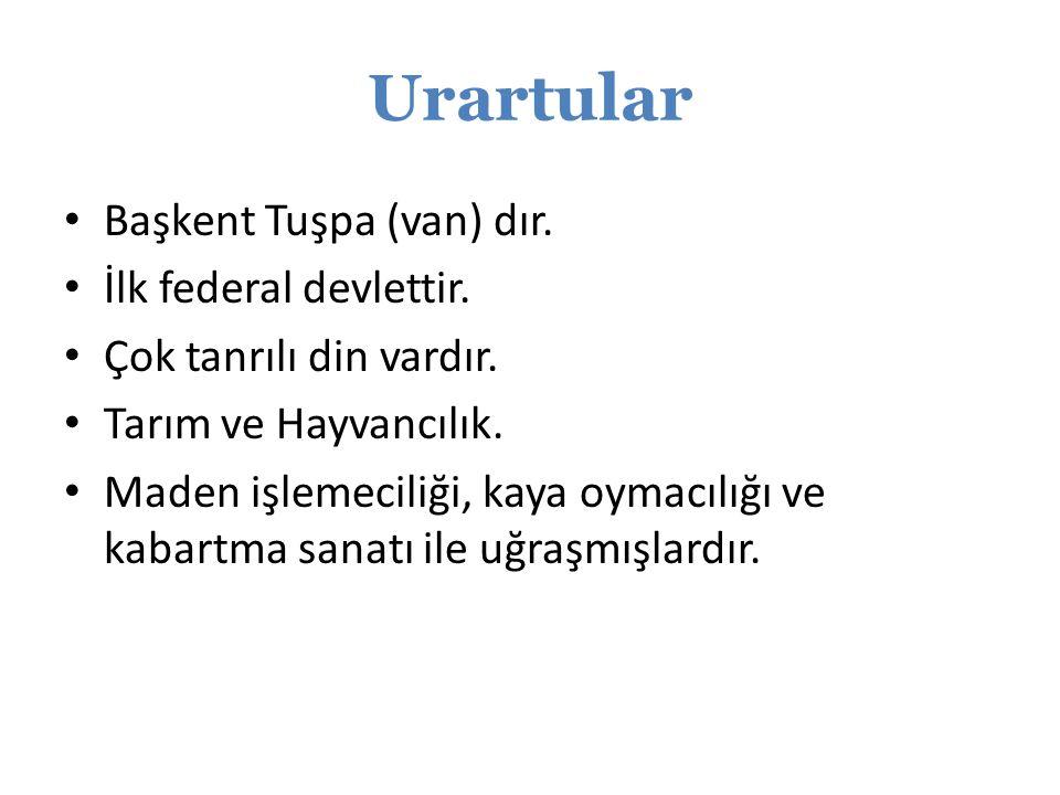 Urartular Başkent Tuşpa (van) dır. İlk federal devlettir.