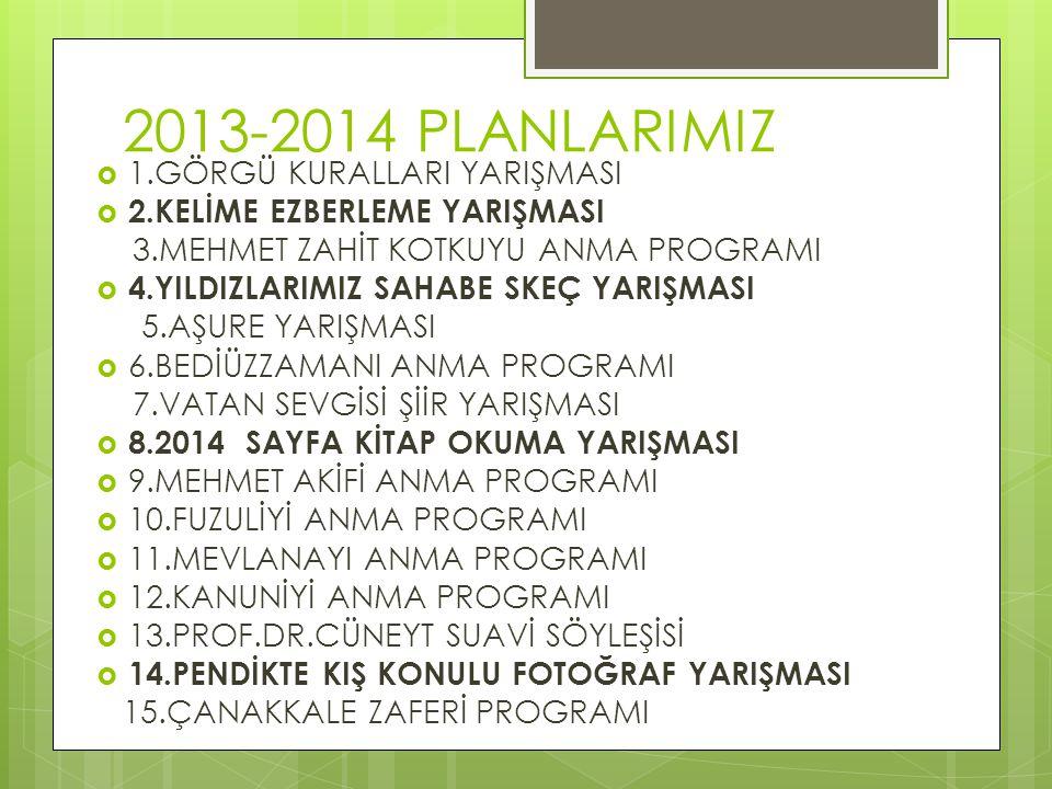 2013-2014 PLANLARIMIZ 1.GÖRGÜ KURALLARI YARIŞMASI