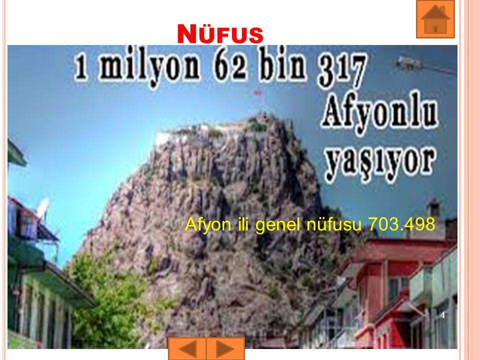 Nüfus Afyon ili genel nüfusu 703.498