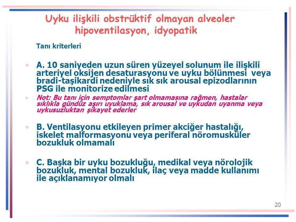Uyku ilişkili obstrüktif olmayan alveoler hipoventilasyon, idyopatik