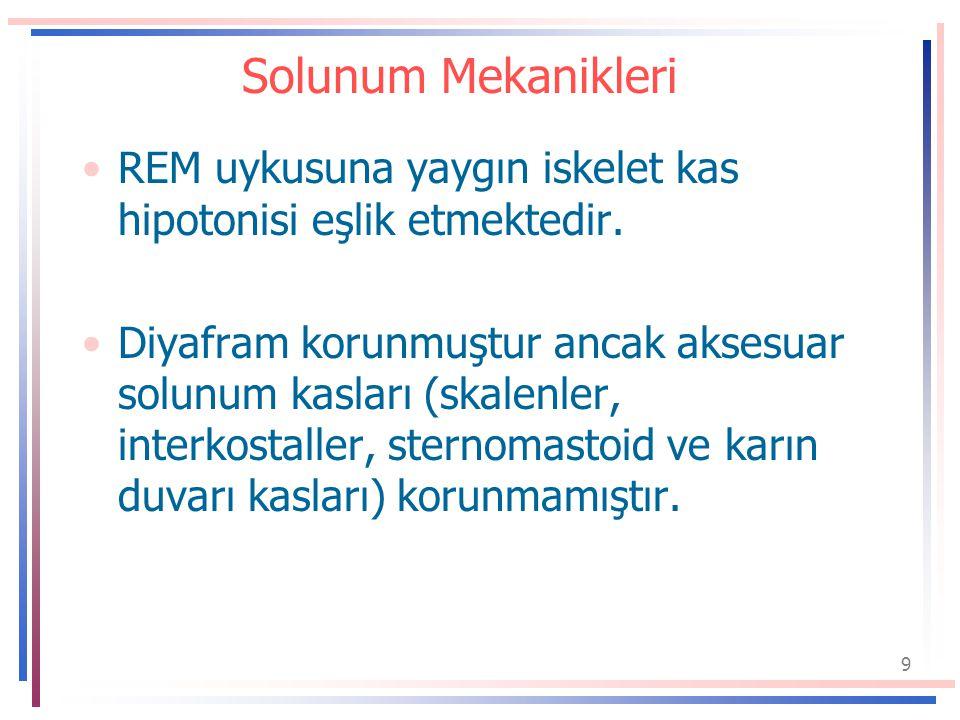 Solunum Mekanikleri REM uykusuna yaygın iskelet kas hipotonisi eşlik etmektedir.
