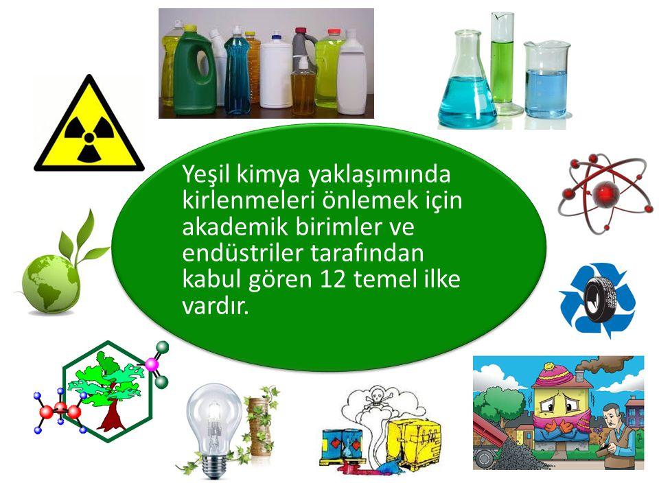 Yeşil kimya yaklaşımında kirlenmeleri önlemek için akademik birimler ve endüstriler tarafından kabul gören 12 temel ilke vardır.