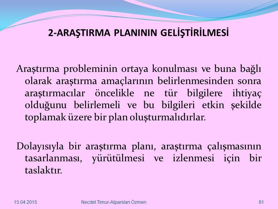 2-ARAŞTIRMA PLANININ GELİŞTİRİLMESİ