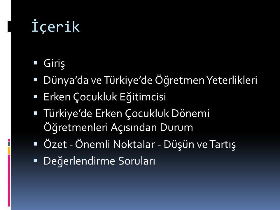 İçerik Giriş Dünya'da ve Türkiye'de Öğretmen Yeterlikleri