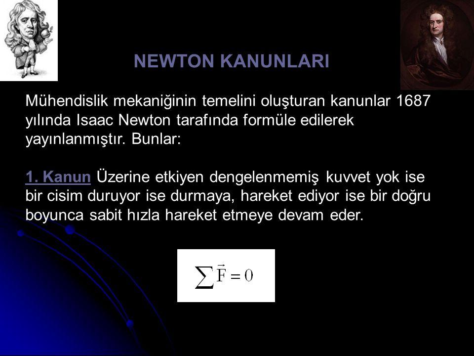 NEWTON KANUNLARI Mühendislik mekaniğinin temelini oluşturan kanunlar 1687 yılında Isaac Newton tarafında formüle edilerek yayınlanmıştır. Bunlar: