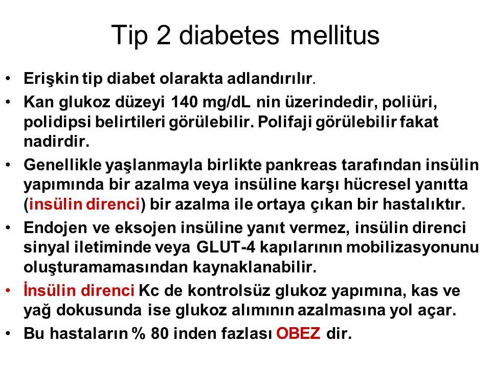 Tip 2 diabetes mellitus Erişkin tip diabet olarakta adlandırılır.
