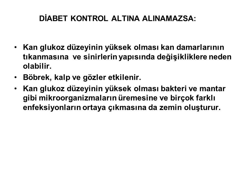 DİABET KONTROL ALTINA ALINAMAZSA: