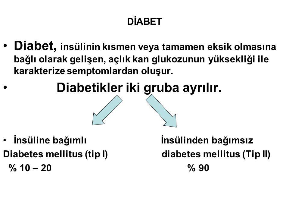 Diabetikler iki gruba ayrılır.