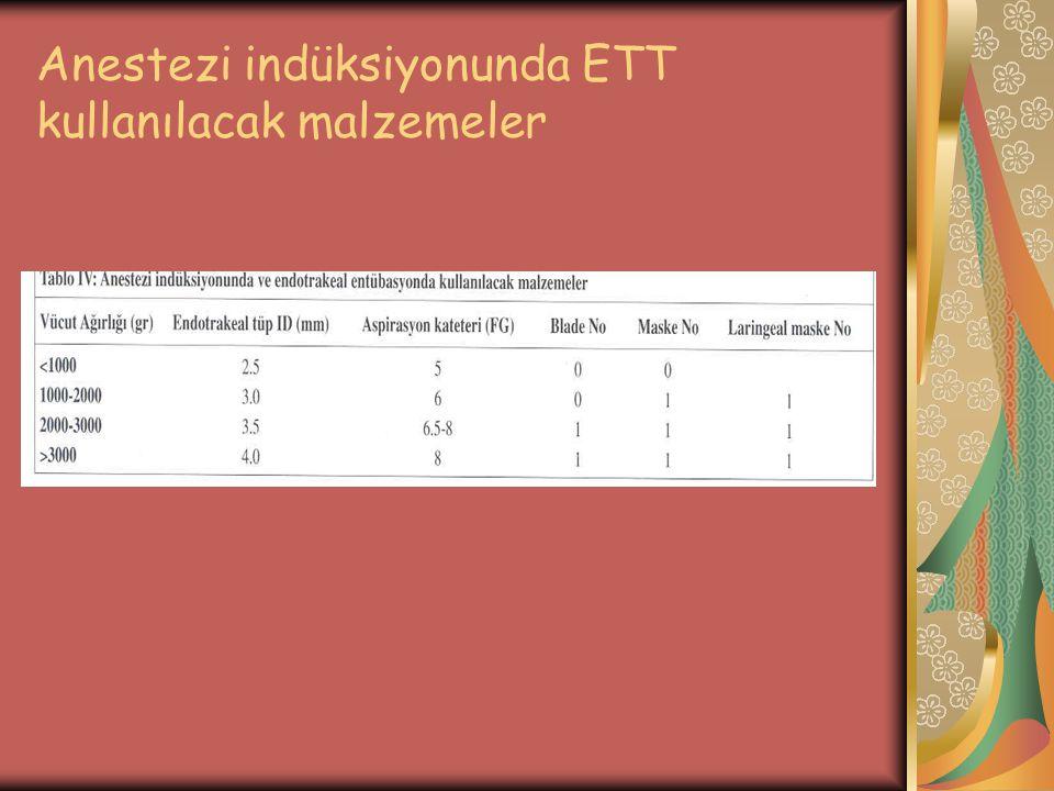 Anestezi indüksiyonunda ETT kullanılacak malzemeler