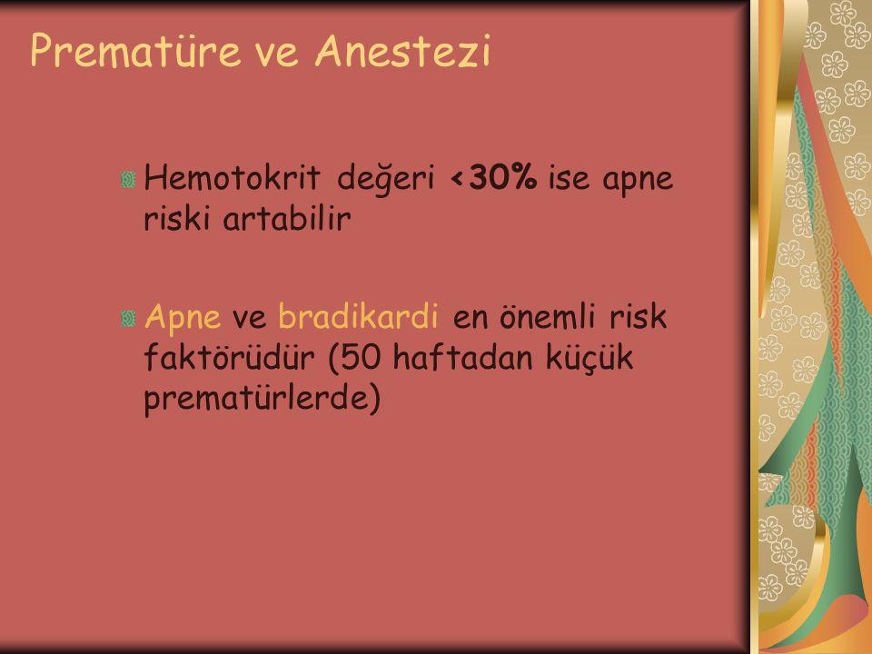 Prematüre ve Anestezi Hemotokrit değeri <30% ise apne riski artabilir.