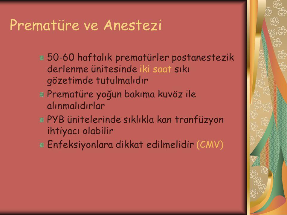 Prematüre ve Anestezi 50-60 haftalık prematürler postanestezik derlenme ünitesinde iki saat sıkı gözetimde tutulmalıdır.