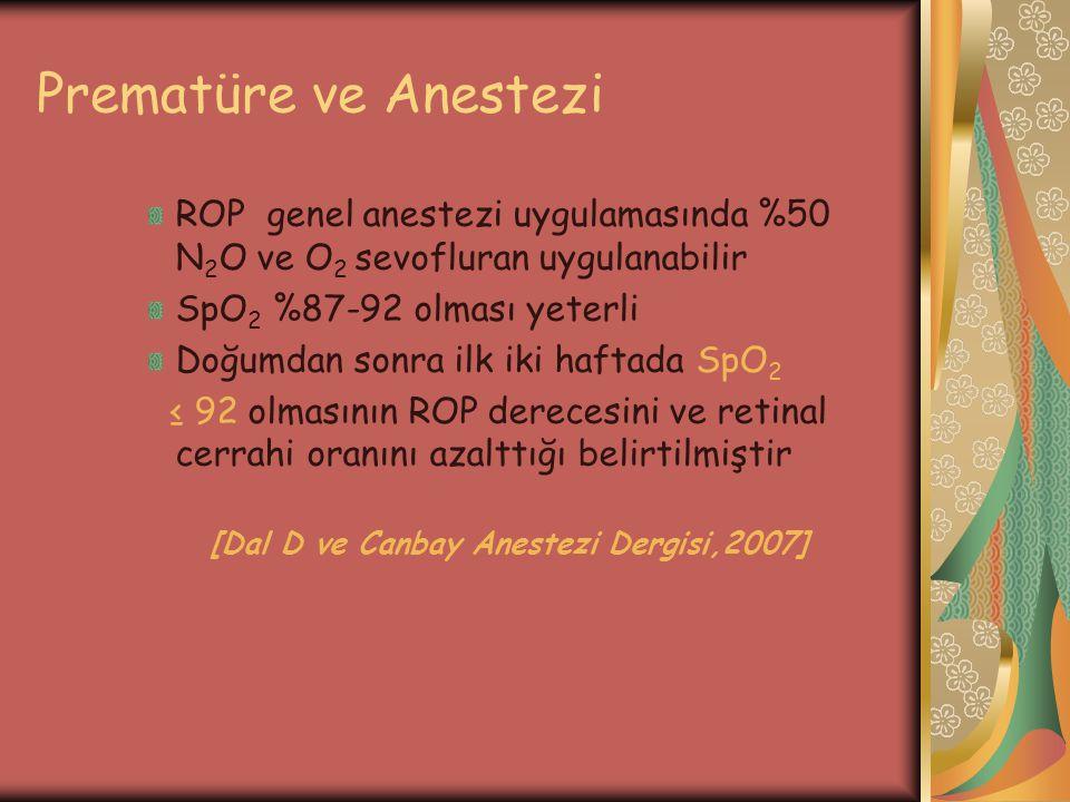 Prematüre ve Anestezi ROP genel anestezi uygulamasında %50 N2O ve O2 sevofluran uygulanabilir. SpO2 %87-92 olması yeterli.