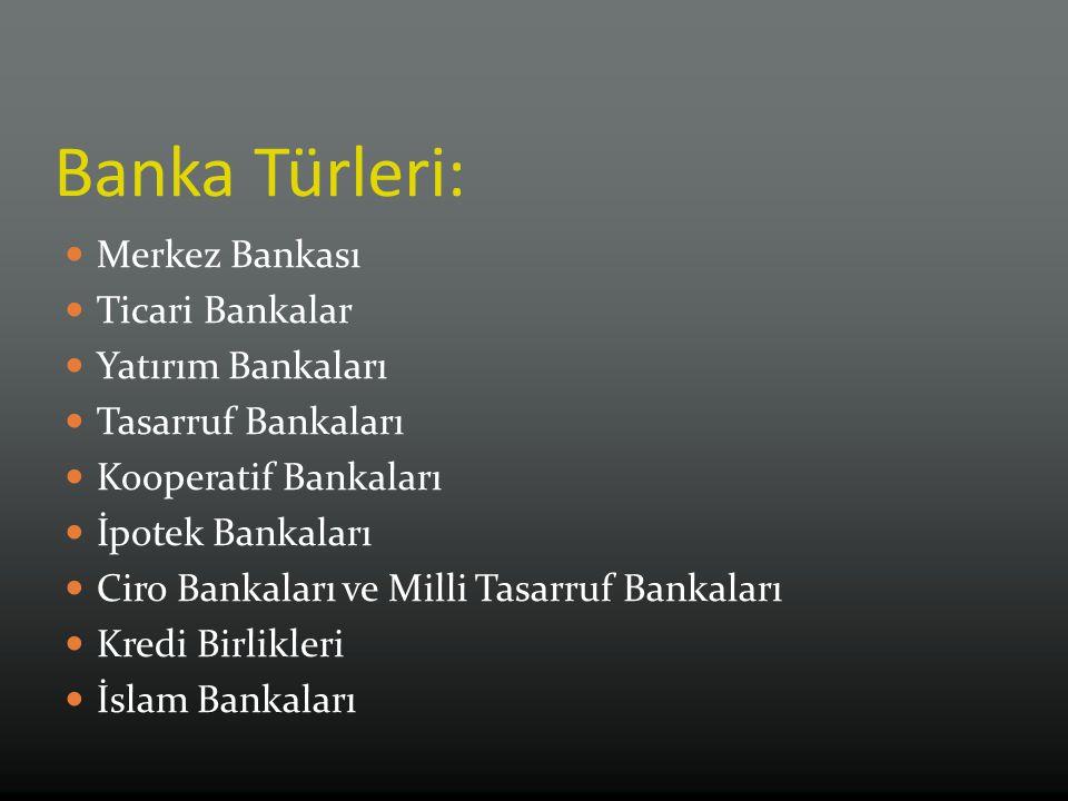 Banka Türleri: Merkez Bankası Ticari Bankalar Yatırım Bankaları