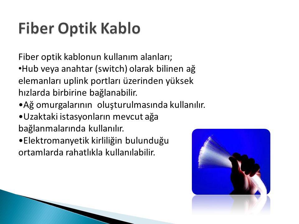 Fiber Optik Kablo Fiber optik kablonun kullanım alanları;