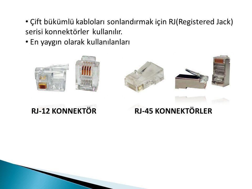 Çift bükümlü kabloları sonlandırmak için RJ(Registered Jack) serisi konnektörler kullanılır.