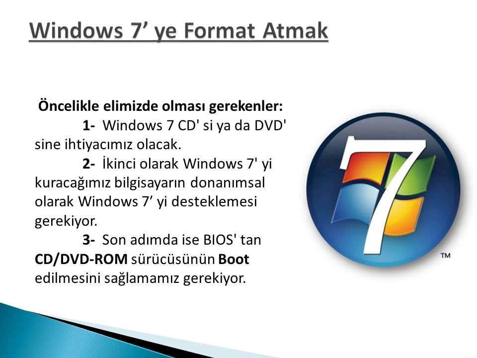 Windows 7' ye Format Atmak