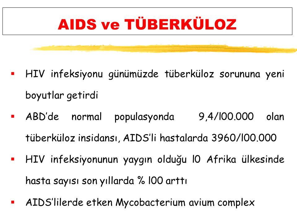 AIDS ve TÜBERKÜLOZ HIV infeksiyonu günümüzde tüberküloz sorununa yeni boyutlar getirdi.