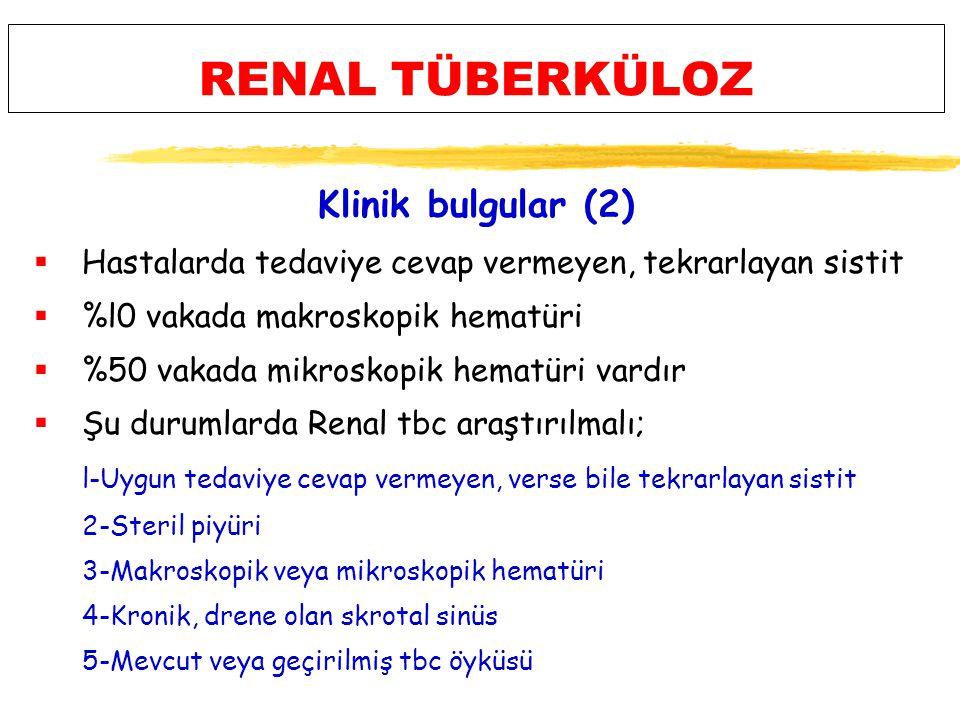 RENAL TÜBERKÜLOZ Klinik bulgular (2)