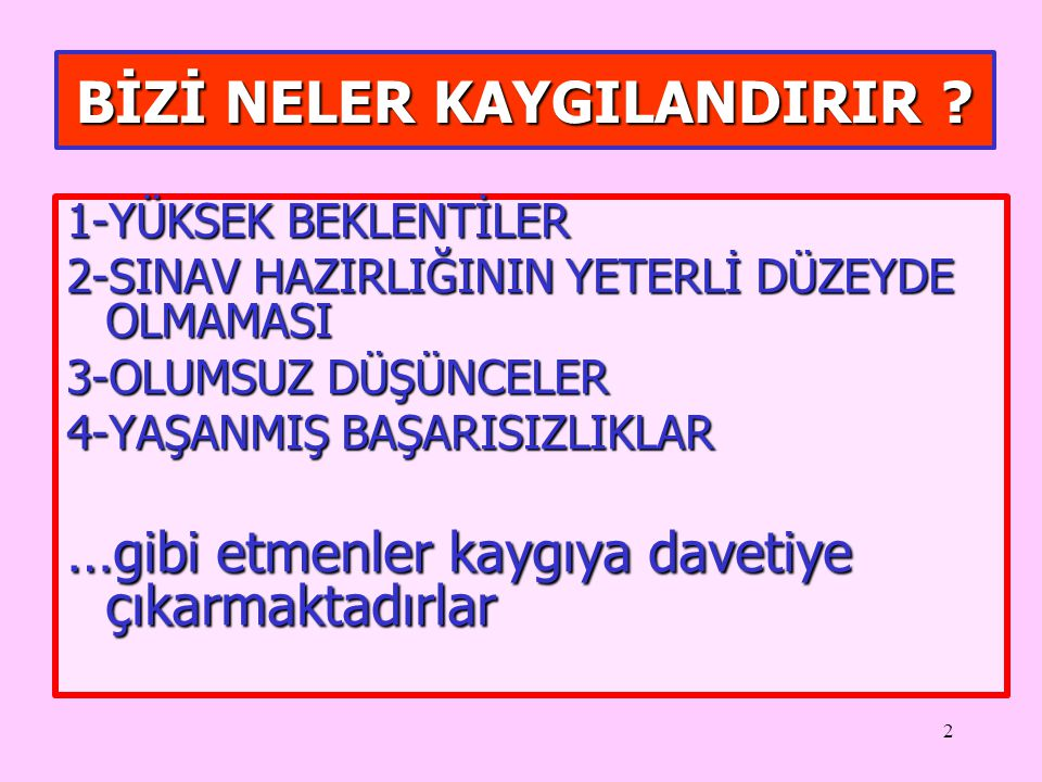 BİZİ NELER KAYGILANDIRIR