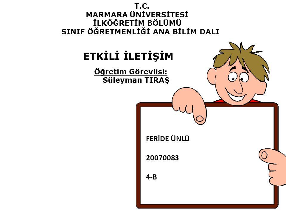 ETKİLİ İLETİŞİM Öğretim Görevlisi: FERİDE ÜNLÜ 20070083 4-B