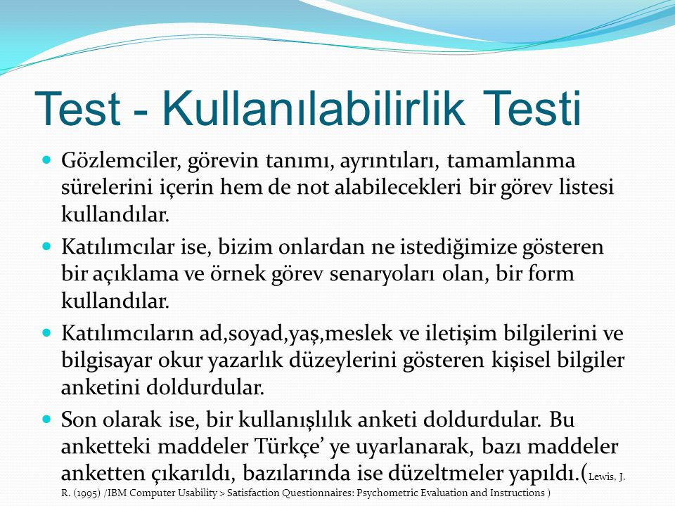 Test - Kullanılabilirlik Testi