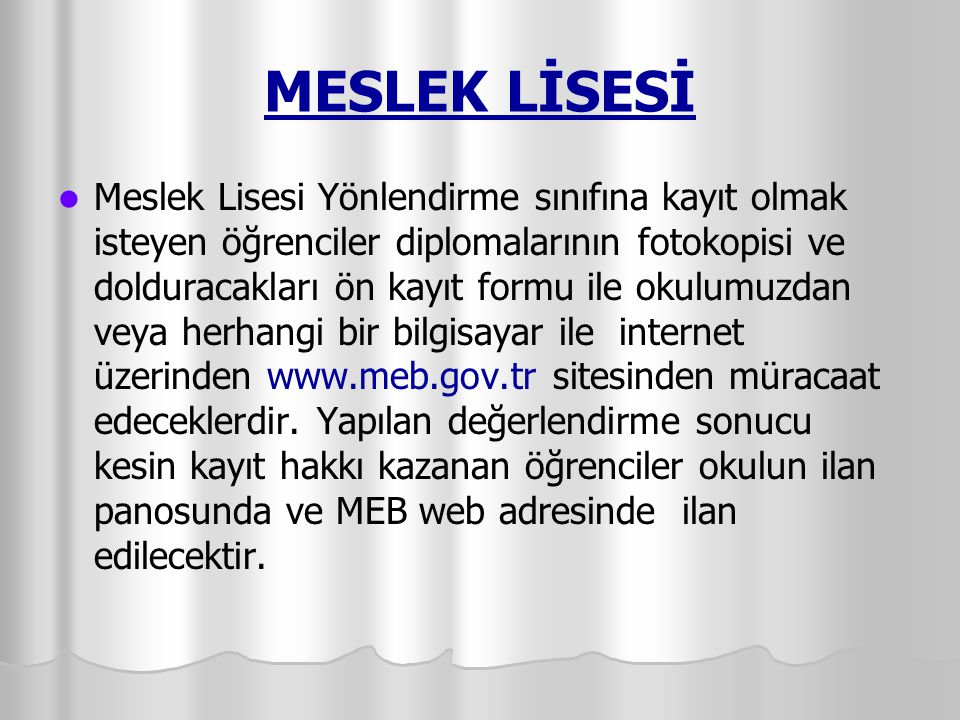 MESLEK LİSESİ